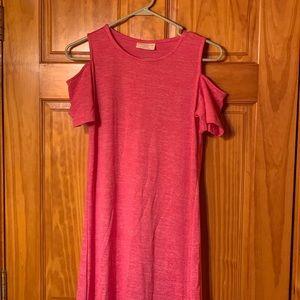 pink open shoulder dress